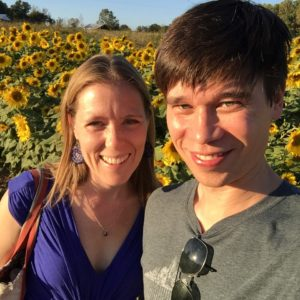 We stopped at an orchard that had a field of sunflowers one weekend.